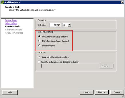 تفاوت دیسک مجازی Thick Provision Lazy Zeroed-Eager Zeroed-Thin Provision