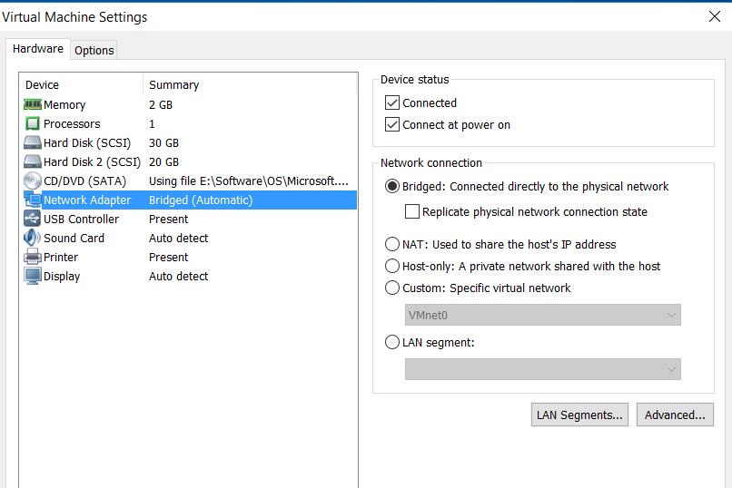 تنظیم کارت شبکه در vmware workstation