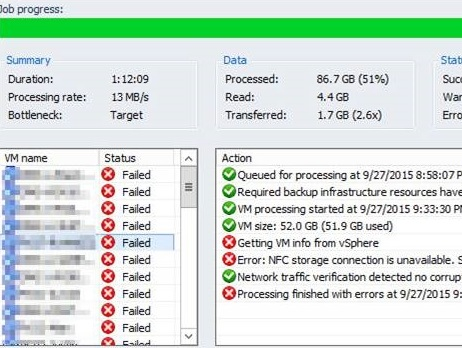 ارور Veeam NFC Storage Connection is Unavailable